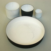 Kunsthandwerker-Astrid Keller plate-and-cups